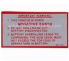 Negative Earth Warning Sticker