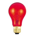 25A19/TRANSPARENTRED/130V 25 Watt Red A19 E26 Base, 25ATR, 25A19TR, 25 Watt A19 Transparent Red, Transparent Red A19