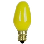 7C7/CERAMIC YELLOW/130V 7 WATT CERAMIC YELLOW C7 E12 BASE,7C7CY,7C7/CY,7C7 FROSTED YELLOW,7C7CY,BIRNE,AMPOULE,BOMBILLA,BULBO