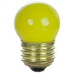 7-1/2S11/CYELLOW/130V 7.5 WATT CERAMIC YELLOW S11 E26 BASE, 7.5S11/CYELLOW, S11CYELLOW, 7.5 S11 CERAMIC YELLOW SIGN LAMP MEDIUM BASE 130 VOLT