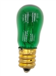 6S6/Green/130V Miniature Bulb E12 Base , 6S6/G, 6S6-Green, 6S6 Transparent Green Candelabra Base 130 Volt