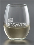 Logo 9 oz. Deep Etched Stemless White Wine Glass