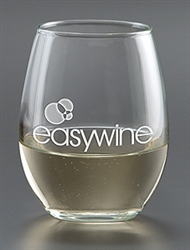 Personalized White Wine Stemless Deep Etched Glass 9oz