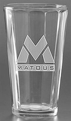 Custom Deep Etched Mixing Glass 16oz