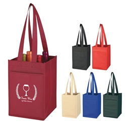 Promotional 4 Bottle Non-Woven Wine Tote