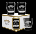 Logo Deep Etch Sterling Double Old Fashion Glasses