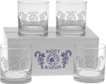 Logo Set of 4 Deep Etched Executive Old Fashion Glasses
