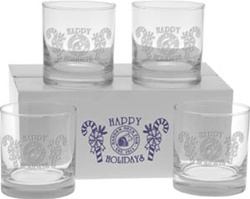 Custom Deep Etched Old Fashion Set of 4 Glasses