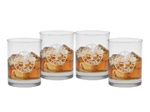 Custom Deep Etch Set of Old Fashion Four Glasses