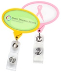 Customizable JUMBO Oval Pink Awareness Badge Reel