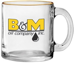 Custom Clear Glass Logo Coffee Mug 13oz