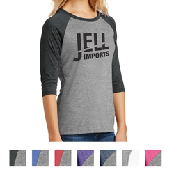 Screenprinted Ladies' Perfect District Made® 3/4 Raglan Sleeve Tee