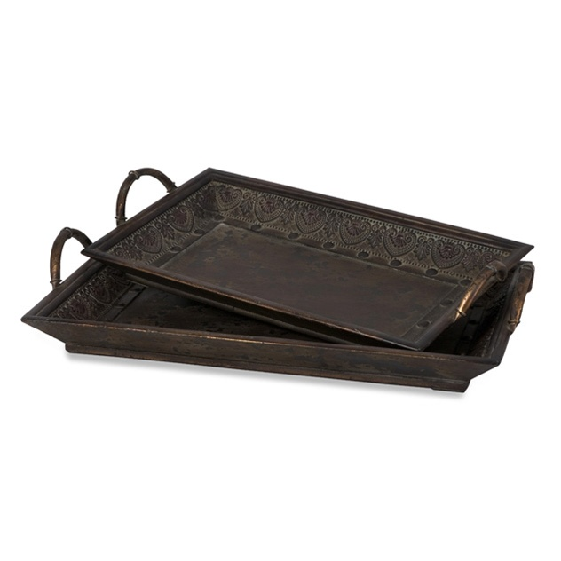 Embossed metal wood cocktail ottoman tray serving
