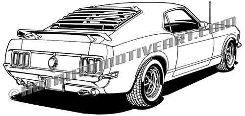 1970 ford mustang fastback clip art  buy two images  get