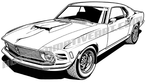 1970 ford mustang muscle car art front 3  4 view