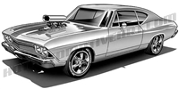 1969 chevrolet chevelle clip art side 3/4 view