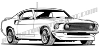 1969 Ford Mustang fastback, front 3/4 view