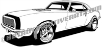 1968 Chevrolet Camaro clip art side 3/4 view