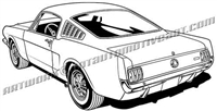 1966 ford mustang gt 350 clip art rear view
