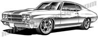 970 chevrolet chevelle clip art side 3/4 view