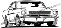 1965 ford mustang clip art front 3/4 view