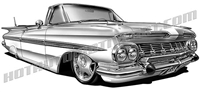 1959 chevrolet impala lowrider convertible clip art  3/4 view