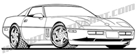 1992 corvette clip art side 3/4 view