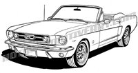 1966 ford mustang convertible clip art