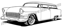 1955 Chevy 2 door wagon clip art - 3/4 view