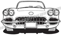 1960 chevy corvette clip art front view