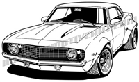 1969 chevy camaro cartoon clip art