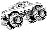ford f-150 monster truck airborne - 3/4 view