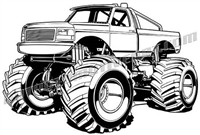 1990 ford f-150 monster truck - 3/4 view