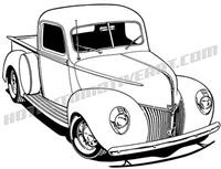 1940 ford pickup truck 3/4 view