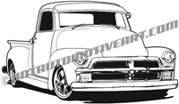 1954 chevy custom pickup clipart - left side view