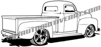 50's ford truck - rear 3/4 view