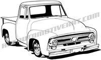 1956 ford f-100 pickup truck clip art 3/4 view