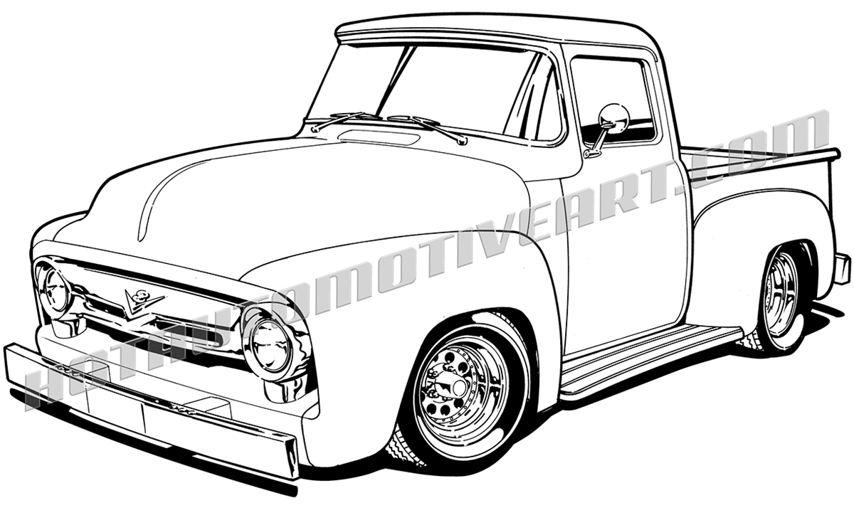1956 ford truck clipart  black line  high quality