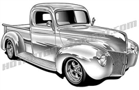 1940 ford pickup clip art right 3/4 view