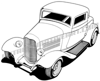 932 ford three window hot rod clip art 3/4 view