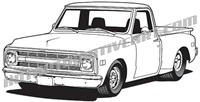 1969 chevy pickup clip art - left side view