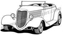 934 ford hot rod convertible clip art 3/4 view