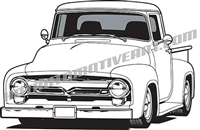 1956 ford  custom pickup truck clip art front 3/4 view