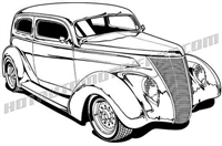 1937 ford sedan hot rod clip art 3/4 view