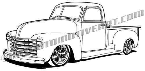 50 chevy 3100 pickup truck clipart  vector black line  high quality
