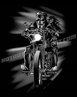 skull biker with chick on a harley