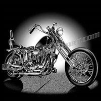 harley chopper motorcycle 3/4 view