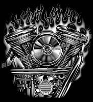 harley motor with flames close up