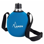Laken Clasica 34oz (1L) Water Canteen with Neoprene Cover and Shoulder Strap Blue