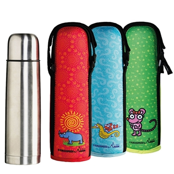 17oz Vacuum Insulated Stainless Steel Thermos Flask w/Neoprene